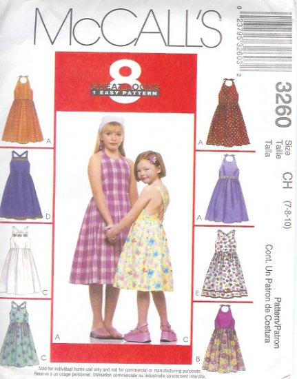 M3260 McCalls Pattern 8 GREAT LOOKS 1 EASY Pattern Sundresses Childs/Girls Size CH 7-8-10
