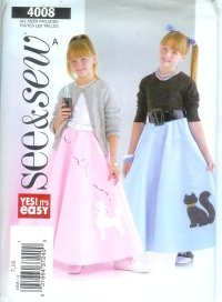 B4008 Butterick Pattern EASY 1950's Costume Skirt, Petticoat   Girls  All Sizes
