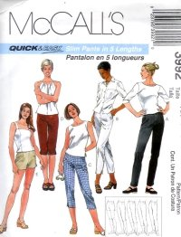 M3992 McCalls Pattern QUICK & EASY Slim Pants in 5 Lengths Misses Size AX 4 -6 -8