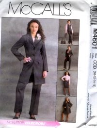 M4601 McCalls Lined Jacket, Lined Vest, Skirt , Pants Misses/Miss Petite Size CCD 10 - 16