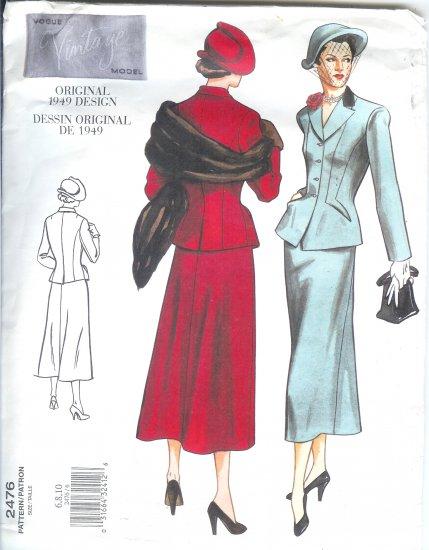V2476 Vogue VINTAGE MODEL 1949 Design Jacket & Skirt Misses Size 6, 8, 10