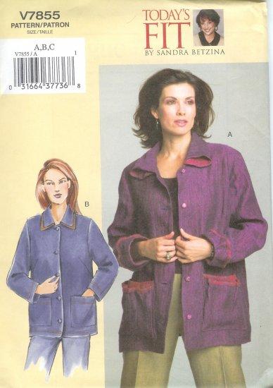 V7855 Vogue Pattern TODAYS FIT Jacket Misses/Misses Petite Size G, H, I, J