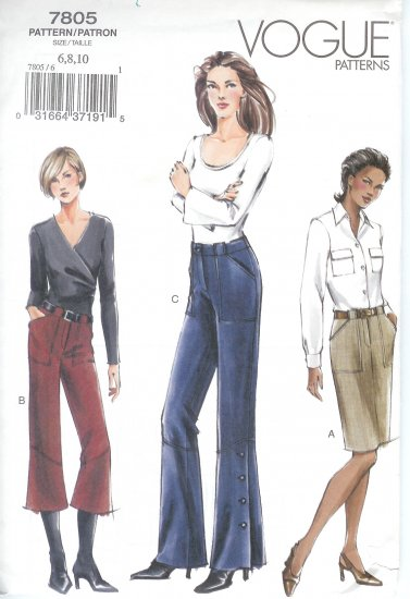 V7805 Vogue Pattern Skirt, Pants Misses/Misses Petite Size 6, 8, 10