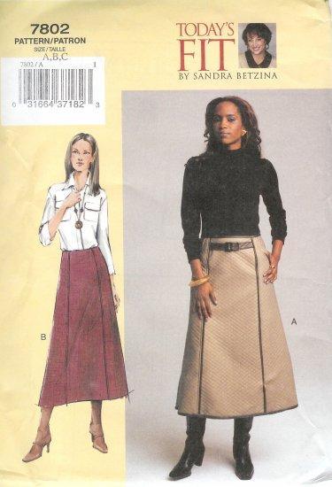 V7802 Vogue Pattern TODAYS FIT Skirt Misses/Misses Petite Size A, B, C