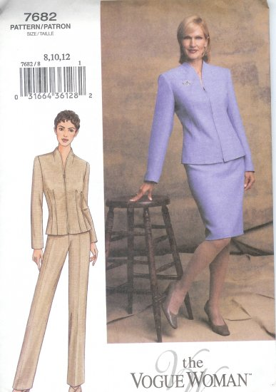 V7682 Vogue Pattern VOGUE WOMAN Jacket, Skirt, and Pants Misses/Misses Petite Size 8, 10, 12