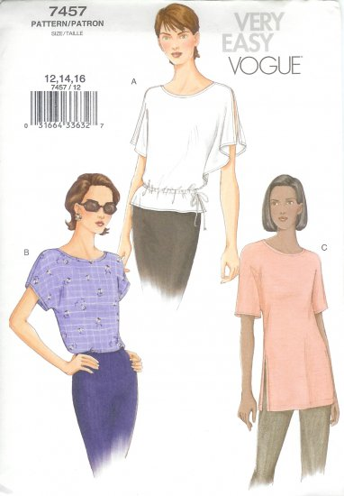 V7457 Vogue Pattern VERY EASY Top Misses Size 12, 14, 16