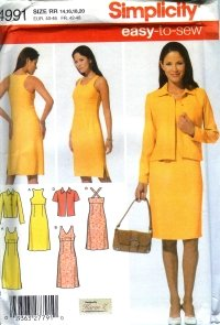 S4991 Simplicity Pattern EASY Dress with Bodice Variations & Jacket PETITE Misses Size 6 - 12