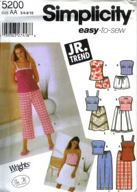 *SOLD*S5200 Simplicity EASY Jr TREND Tuni, Top, Pants ir Shortrs & Skirt Juniors Size AA 3/4 - 9/10