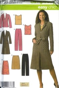 S4791 Simplicity Pattern EASY Pants, Skirt, Top & Lined Coat or Jacket Petite Misses Size 4-10