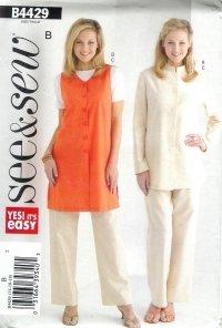 B4429 Butterick Pattern EASY Jacket, Vest, & Pants PETITE  Misses Size 8 - 10 - 12