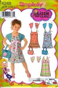 S4248 Simplicity Liz McGuire Dress with Bodice Variations, Shrug & Bag Child Size 3 - 8