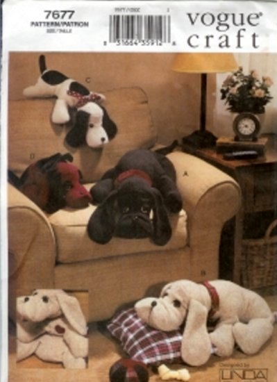 V7677 Vogue Pattern Craft Plush Dogs