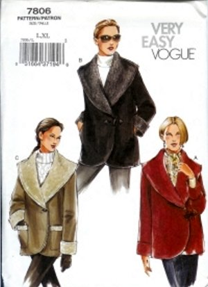 V7806 Vogue Pattern VERY EASY Jacket Misses/Miss Petite Size L, XL
