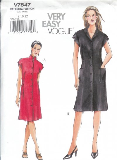 V7847 Vogue Pattern VERY EASY Dress Misses/Miss Petite Size 8, 10,12