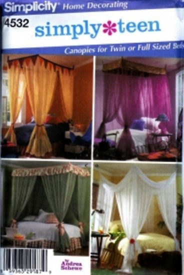 S4532 Simplicity SIMPLY TEEN Canopies for Twin or Full Sized Beds