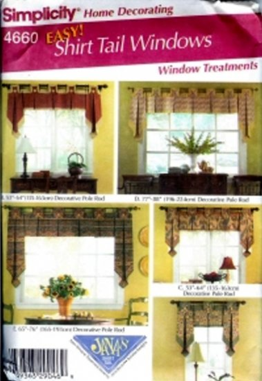 S4660 Simplicity Pattern EASY Shirt Tail Window Treatments