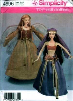 """S4696 Simplicity Pattern 11 1/2"""" Doll Fashion Doll Makeover and Clothes"""