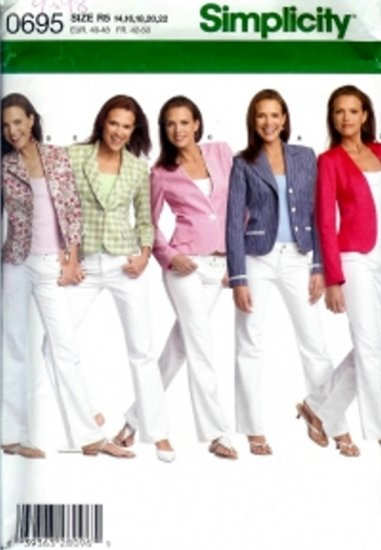 S4698 Simplicity Pattern Jacket w/ Front Variations Misses/Miss Petite Size R5 14,16,18,20,22