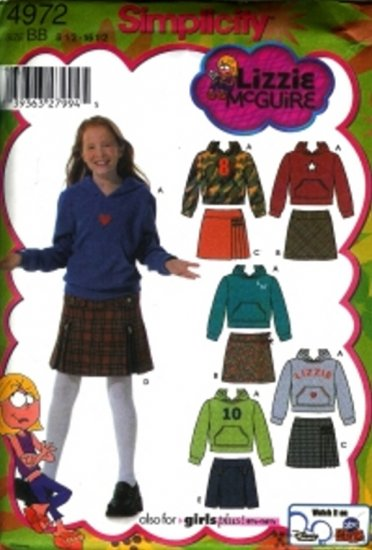 S4972  Simplicity LIZZIE McGUIRE Skirts and Knit Top Girls Plus Size AA 8 - 16