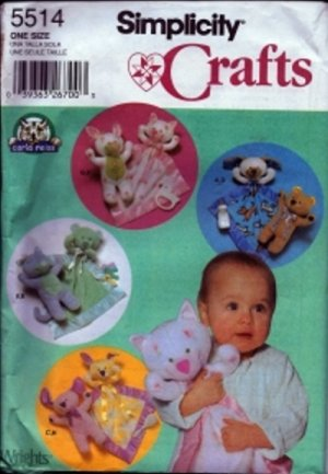 S5514 Simplicity Pattern STUFFED ANIMALS and BLANKETS by CARLA REISS