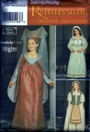 S9836 Simplicity Pattern RENAISSANCE Costume by ANDREA SCHEWE Girl Size 7-14