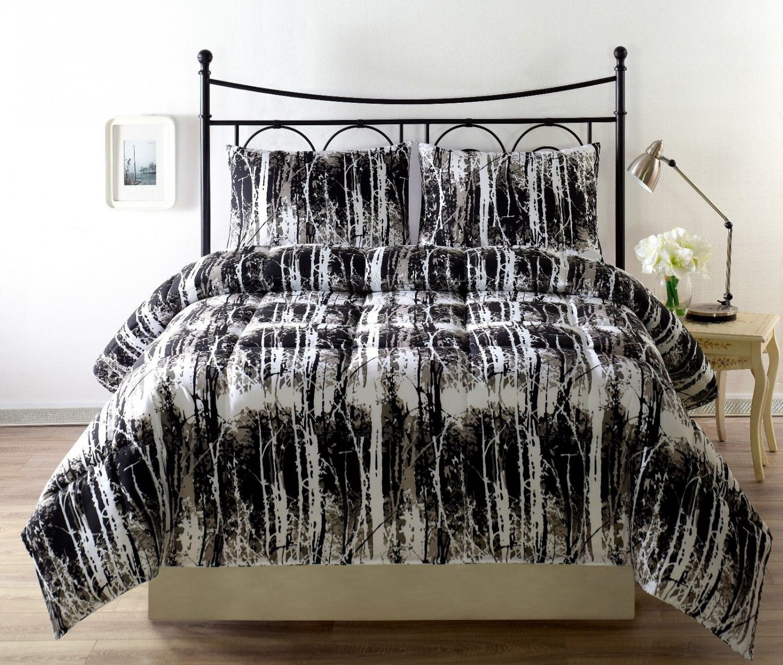 KING Size Silhuett 3pc Reversible Down Alternative Comforter Set Green Taupe Black White Cover