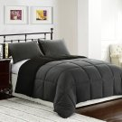 KING Size Bed 3pc Reversible Down Alternative Comforter Set, Black/Grey Bedding