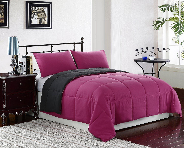 KING Size Bed 3pc Reversible Down Alternative Comforter Set, Pink/Grey Bedding