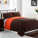 TWIN Size Bed 2pc Reversible Down Alternative Comforter Set, Orange/Brown Bedding