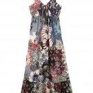 Summer Women Casual Bohemia Cotton Maxi Long Beach Dress Spaghetti Strap Floral V Neck