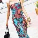 Women Casual Bohemia Maxi Long Beach Dress Summer Spaghetti Strap Blue Print