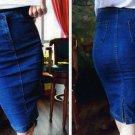 M - Fashion Spring Autumn Women Denim Jeans Casual Tight Skirt Skinny Fit Mid Knee