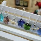 Wholesale 24 pairs/lot Mixed Colors Fashion Women Flower Crystal Silver Hook Earrings