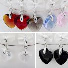 Wholesale 24 pairs/lot Mixed Colors Fashion Women Crystal Bowknot Heart Silver Hook Earrings