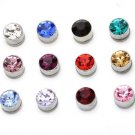 Wholesale 24pairs/lot Mixed Unisex Magnetic Round 5mm Crystal Rhinestone Stud Fashion Earrings