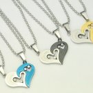 Wholesale 10pairs Mixed Unisex Lovers Sweethearts Titanium Stainless Steel Heart Pendant Necklace