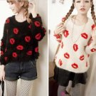 Black - Fashion Women Girls Pullover Sweater Mohair Fluffy Fuzzy Lips Autumn Winter