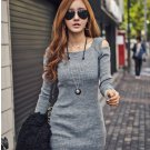 Gray Fashion Women Casual Sexy Slim Short Dresses Knitted Cotton Elegant Long Sleeve Wholesale