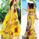 Fashion Women Bohemia Beach Floral Maxi Chiffon Dresses Summer Casual Sleeveless Yellow Wholesale