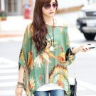 Fashion Casual Women Ladies Loose Oversized Batwing Chiffon Green Shirts Tops Spring Autumn
