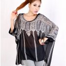 Fashion Casual Women Ladies Loose Oversized Batwing Chiffon Black Shirts Tops Spring Autumn