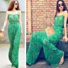 Fashion Women Ladies Casual Chiffon Long Jumpsuits Romper Pants Green Floral Print Spaghetti Strap