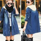 M Fashion Women Denim Jeans Hooded Long Jackets Outwear Trench Coat Autumn Winter Long Sleeve