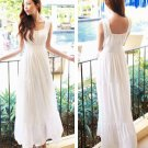 White Women Girls Casual Bohemia Beach Dress Chiffon Long Ruffle Sleeveless Square Collar