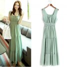 Green Women Girls Casual Bohemia Beach Dress Chiffon Long Ruffle Sleeveless Square Collar