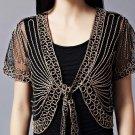 M Black With Beige Fashion Women Cardigan Shrugs Lace Loose Short Sleeve Blouse Front Tie Bolero