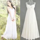 M Women Girls Bohemia Beach Long White Dress Chiffon Spaghetti Strap Ruffle Flared Wedding Party