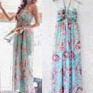 Blue Women Casual Bohemia Boho Beach Dress Chiffon Floral Flower Print Halter Summer Wholesale