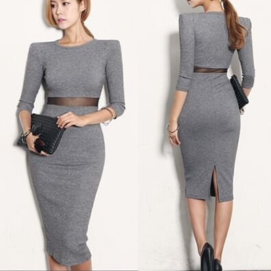 M Women Casual Grey Sexy Dress Knee Length Pencil Wrapped Bodycon Seven Sleeve Spring Autumn