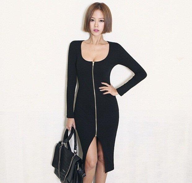 M Fashion Women Casual Sexy Dress Knee Length Split Zipper Wrapped Pencil Bodycon Spring Autumn
